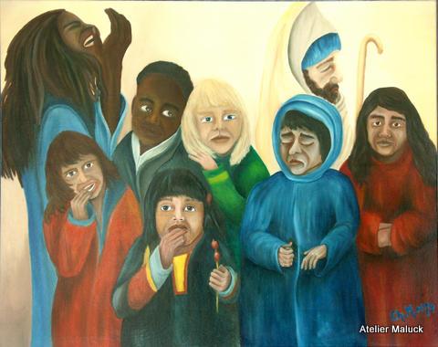 Kinder dieser Welt, Oelfarbe 100x80 cm