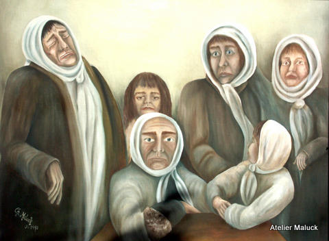 Kriegsfrauen und Kinder, Oel auf Spanplatte, 1993,