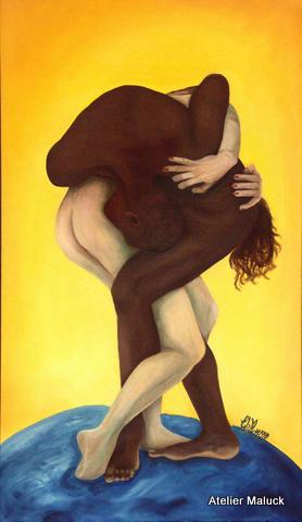 Ismael Ivo, brasilianischer Tänzer, war u.a. Choreograph in Weimar, von Christiane Maluck, Oelfarbe, 80x120 cm