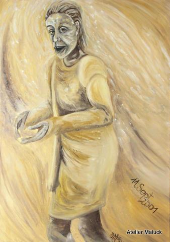 11.Sept.2001, sie entkam einer Wolke aus Staub, Oel, 70x100 cm