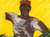 Aborigine vom Marastamm, tanzt auch für die Weißen, die erst gestern sein Land betraten, Oel, 60x70 cm
