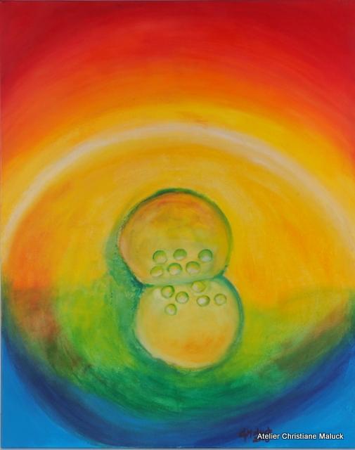 006 Beginn der Zellteilung, 80x100 cm Acrylfarbe mit Sand