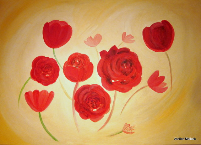 010 Rosen, 140x100 cm, Acrylfarbe