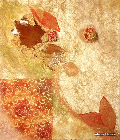 015 ganz Herbst,, Collage mit Blatt und Früchten