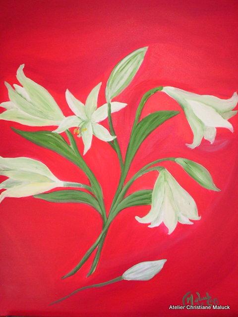 012 Lilien in Rot, 60x70 cm