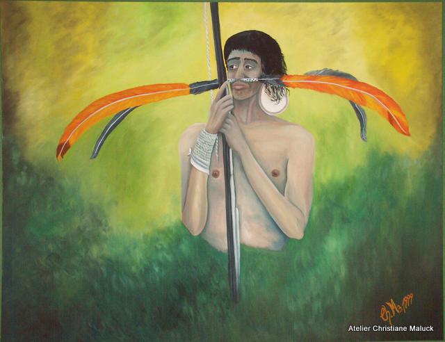 Eriebatskaindianer mit Kriegsschmuck, 140x100 cm, in Ölfarbe